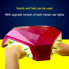 48W LED Nail Dryer Curing UV Gel Lamp Diamond Shape For Dual Hands & Feet