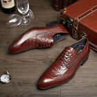 New Men's Real Leather Dress Formal shoes Crocodile Embossed Brown Black Z9102