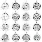 30mm Stainless Steel Chakra Healing Diffuser Photo Locket Round Pendant Necklace