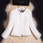 Womens luxury faux fur Scoop neck Coat Slim Fit Jacket Short overcoat Korean