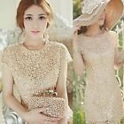 Womens Elegant Nice Floral Crochet Lace Pearl Beaded Bridesmaid Party Dress B20E