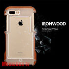 R-just Shockproof Natural Wood Bumper Aluminum Case Metal Cover F iPhone 7 7Plus