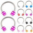 2P Dice circular barbell bars eyebrow ring piercing steel 9ECP-SELECT COLOR&SIZE