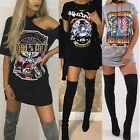 Sexy Women Summer Short Sleeve Casual Loose Printed T-Shirt Dress Party Club Tee