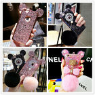 New 3D Girl's Glitter Bling Ears Ball Rabbit Fur Case Cover For iPhone 7 6S Plus