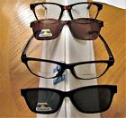 NEW  clear BIFOCAL READING GLASSES  with polarized Magnetic Clip on Sunglasses