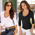 2017 Women Plain Slim V-Neck Ladies Basic Long Sleeve Stretch T-Shirt Top Blouse