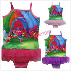 Kids Girls Trolls One Piece Bikini Swimwear Bathing Swimsuit Tutu Skirt Cartoon image