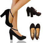LADIES MID HEEL STILETTO  PLATFORM COURT ANKLE STRAP SANDAL SHOES SIZE UK 3-8