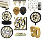 BLACK & GOLD Age 50 - Happy 50th Birthday Bday PARTY ITEMS Decorations Tableware