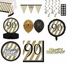 BLACK & GOLD Age 90 - Happy 90th Birthday Bday PARTY ITEMS Decorations Tableware