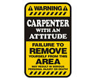Carpenter Warning Yellow Decal Carpentry Gloss Vinyl Hard Hat Window Sticker HGV