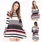 NEW WOMENS LADIES LONG SLEEVE STRIPE PRINT FLARED SWING DRESS TOP PLUS SIZE 8-26