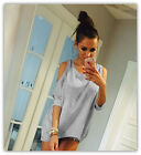 Womens Off Shoulder Loose Shirt Fashion Ladies Summer Casual Blouse Top Shirt  New without tags