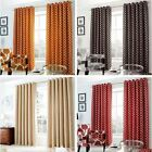 OH HEAVY WEIGHT CHENILLE LINED EYELET CURTAINS MODERN READY MADE RING TOP PAIRS