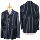 Gabicci Vintage Mens Navy Blue Designer Striped Jacket Button Up Smart Blazer