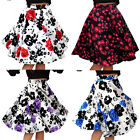Girls Pleated Vintage High Waisted A line Skirts Floral Print Midi Skirt Hot
