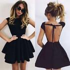 New Women Backless Summer Bandage Party Cocktail Mini Dress Black Gray