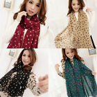 Boho Lady Women Polka Dot Curled Edge Long Chiffon Scarf Shawl Wrap Neckerchief