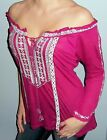 New Boho EMBROIDERED Off Shoulder PEASANT Tunic BEAD TIE Top Shirt Magenta S M