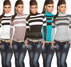 Women's Polo Jumper Warm Knit Striped Top Pullover Sweater UK Size 8 10 12