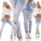WoW Exclusive Boyfriend Destroyed Print-Look Jeans LightBlue Waschung Neu