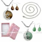 Womens Waterdrop Hook Earrings Gemstone Pendant Chain Necklace Jewelry Set Gift