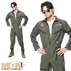 Top Gun Deluxe Aviator Mens 80s Fancy Dress Adults Army Uniform Costume Outfit