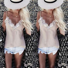 Fashion Summer Women's Sleeveless Casual Tops Blouse Lace Floral T-Shirt Tops HF