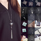 Women Fashion Luxury Jewelry Grade Zircon Necklace Tassel Sweater Long Chain Hot