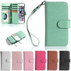 For Apple iPhone Magnetic 9 Card Slot Removable Wallet Flip Leather Case Cover