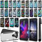 For ZTE Zmax Pro Carry Z981 Card Pocket Brushed Hybrid Phone Case Cover + Pen