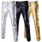 Mens Foiled Print Long Straight Suit Casual Pants Skinny Korean Dance Trousers