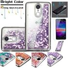 For LG Phone Quicksand Hybrid Case+TEMPERED GLASS/Clear Liquid Glitter TPU Cover