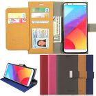 Dual Pocket Wallet Leather Book Flip Case Cover for Apple iPhone 7 Galaxy S8 LG