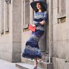 Elegant Lace Long Sleeve Round Collar Long Skirt Ladies Party Prom Evening Dress