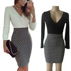 Fashion Women V Neck Party Long Sleeve Bodycon Formal Casual Lady Pencil Dress