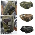 Military Men Leather Canvas Chest Shoulder Bag Hiking Outdoor Climbing Bum Bags