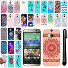 For HTC M8 One 2 Various Design TPU SILICONE Soft Protective Case Cover + Pen