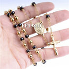 4/6/8mm Mens Womens Gold Black Stainless Steel Necklace Bead Rosary Chain