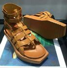 Roman Mens Sandals shoes High Top wedge heel Square Head Flip Flop hollow out