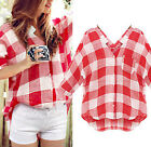 2017 Summer Womens Tops Casual Plaids Shirt Long Sleeve Blouse Clothes Plus Size