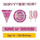 AGE 10 - Happy 10th Birthday PINK GLITZ - Party Balloons, Banners & Decorations