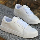 Hot! New Women's Fashion Leather Lace Up Flat Heels Casual Sneakers Shoes US4-8