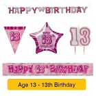 AGE 13 - Froh 13th Geburtstag ROSA GLANZ - Party Ballons, Banner & Dekorationen