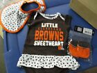 NFL Infant Cleveland Browns Little Sweetheart Bib & Booty Set NWT Pick Size