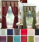 5 Piece Luxury  Window Curtain Panels Tie Back Set  LinenPlu