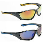 Mens Wrap Around Black Mirror Sports Mirror Yellow Blue Ski Sunglasses +Case New