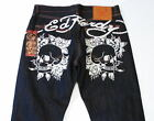 Ed Hardy Skull Rose Printed Graphics Blue Raw Denim Jeans Men's NWT $138