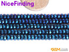 """Blue Metallic Coated Hematite Faceted Rondelle Stone Beads Jewelry Making 15""""DIY"""